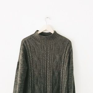 sanctuary | green marled mock neck sweater